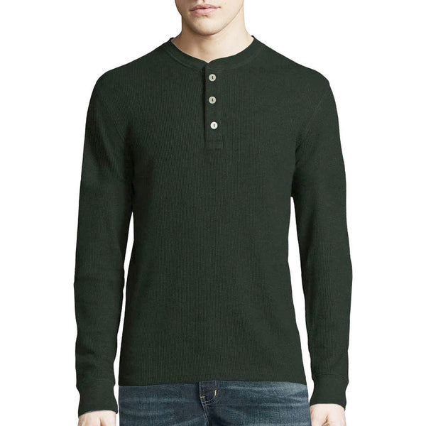 "Men's Cut Label ""Next"" Henley Thermal Shirt-Dark Green-BE67"