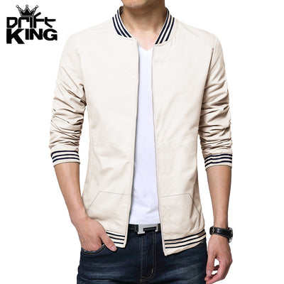 Drift King Fleece Full Zipper Baseball Jacket For Men-Cream-BE3584