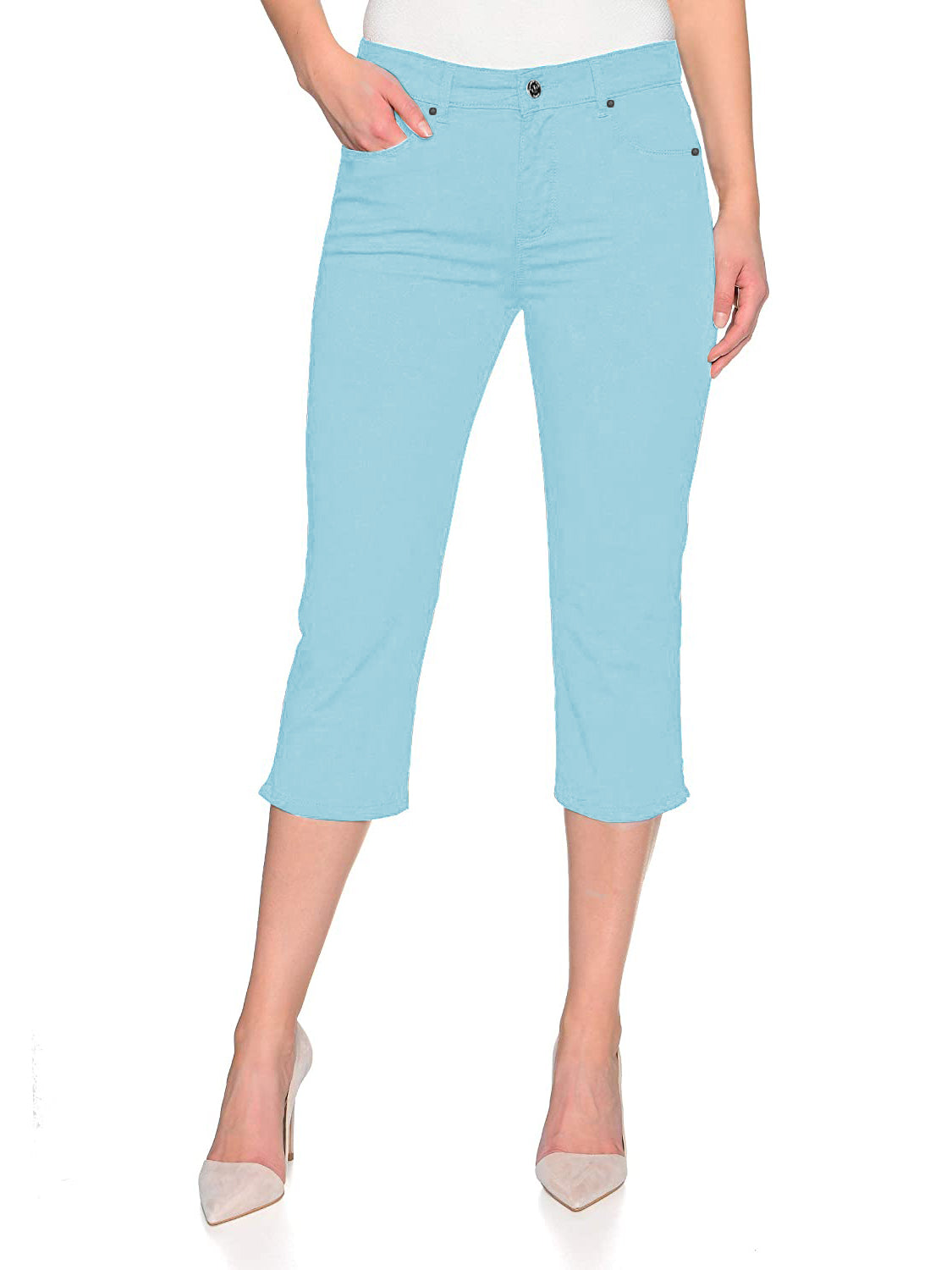 Springfield Slim Fit Stretch Capri For Ladies-Light Blue-F173