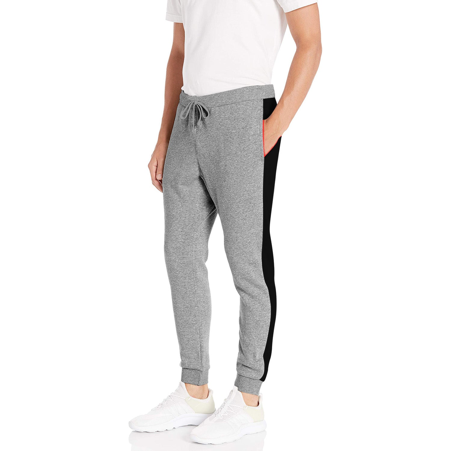 Diesel Summer Slim Fit Jogger Trouser For Men-Dark Grey Melange & Black Stripe-SP2226