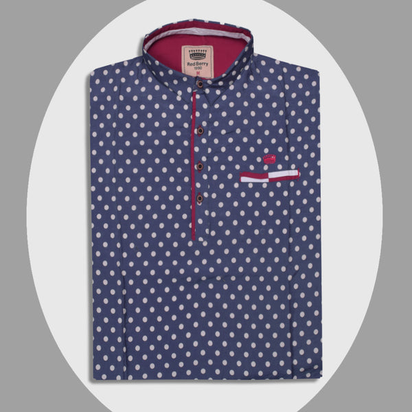 "Men's ""Red Berry"" Exclusive Dotted Cotton Shirt-0269"