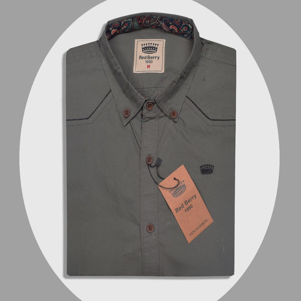 "Men's ""Red Berry"" Exclusive Ak M Cotton Shirt-0268"