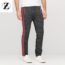 Zara Man Single Jersey Trouser For Men-Black Melange with Pink Stripe-BE2758