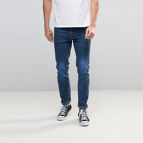 Just Chique  Slim Fit Stretch Denim For Men - Light Blue Faded - CH003