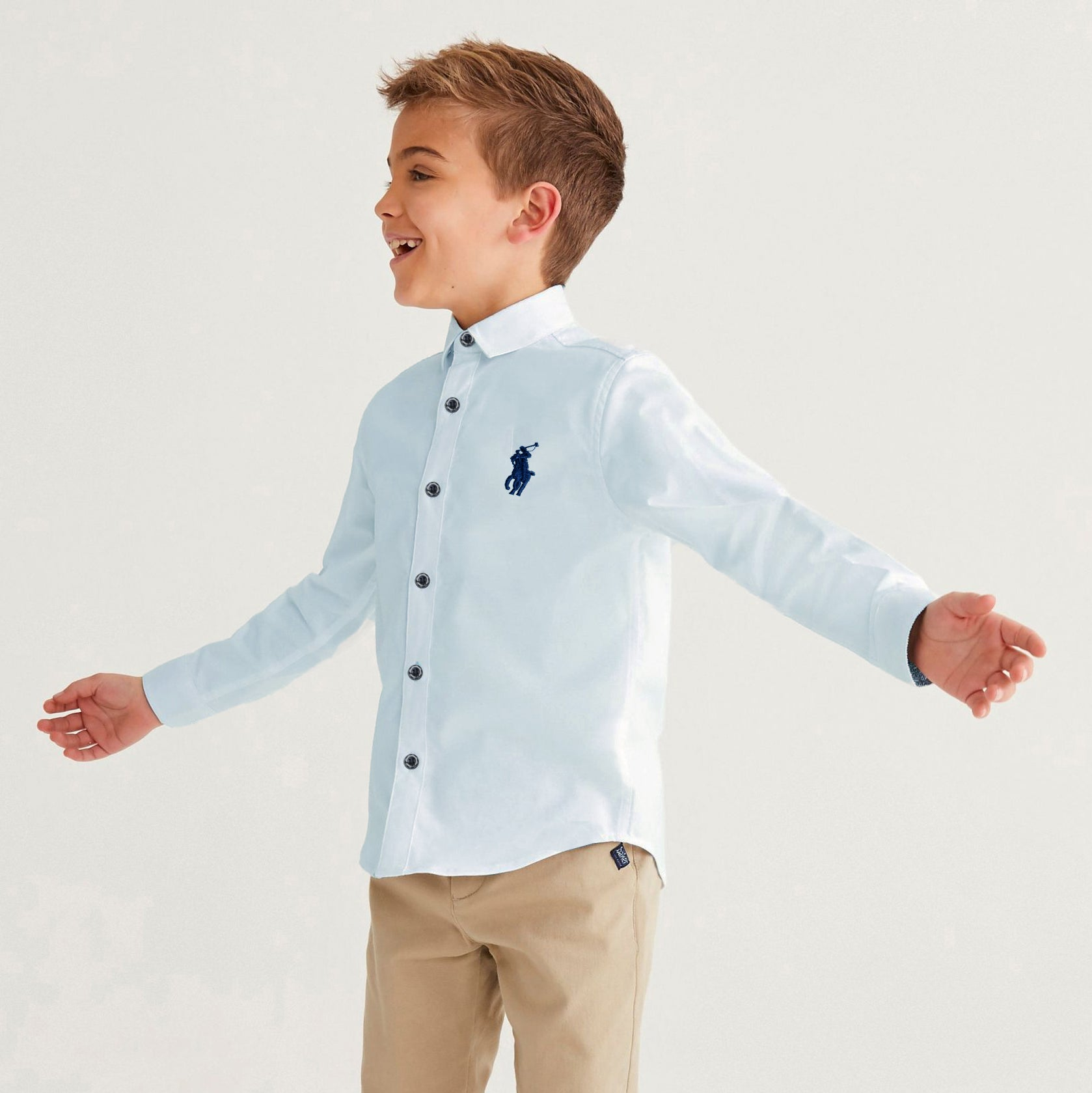 U.S Polo Premium Slim Fit Casual Shirt For Boys-Light Cyan-NA12023