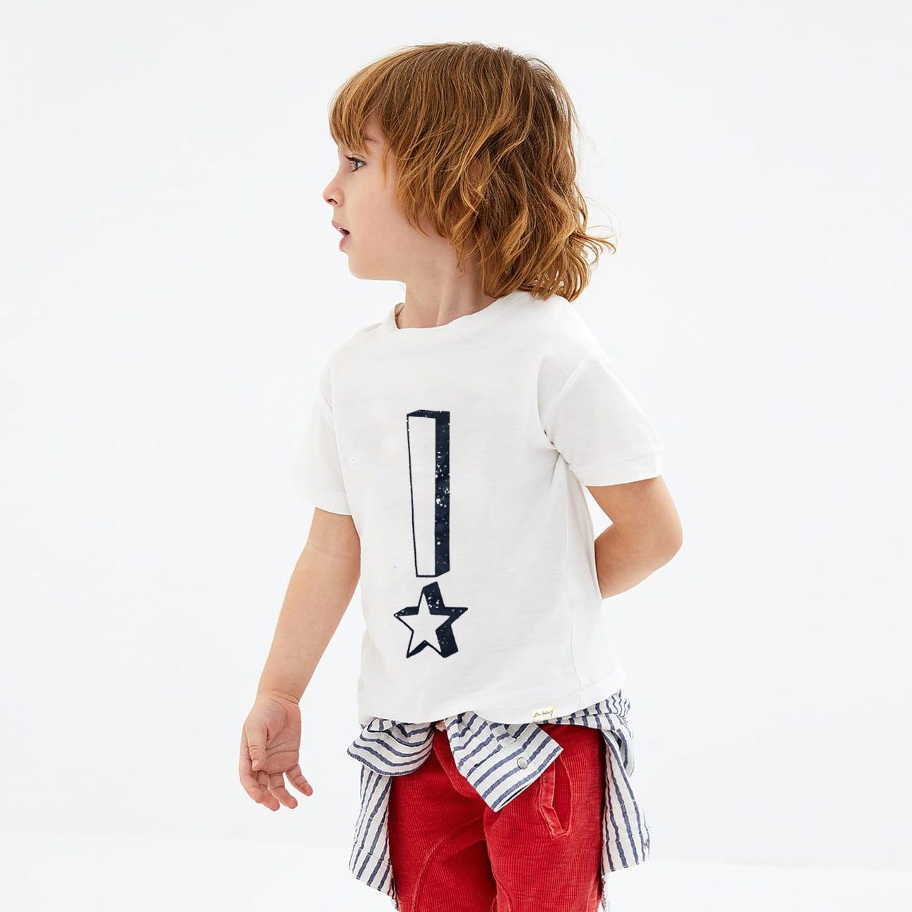 ZBaby Crew Neck Half Sleeve Tee Shirt-White-NA11032
