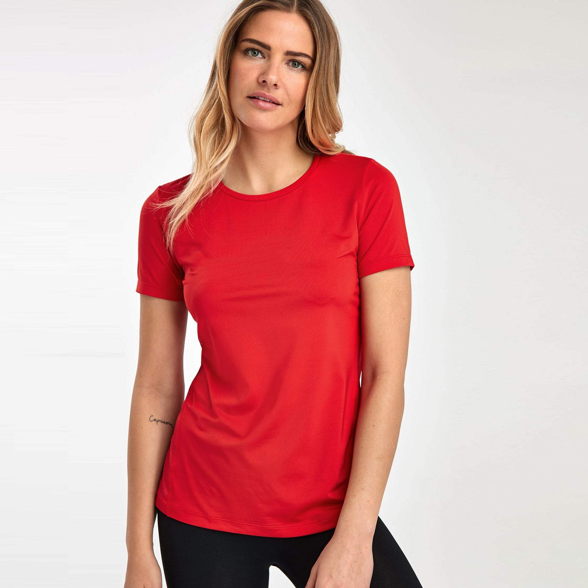 Popular Sports Crew Half Sleeve Viscous Tee Shirt For Women-Red-NA11155