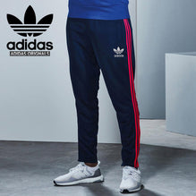 Adidas Cotton Trouser For Men-Dark Navy With Pink Stripes-BE2337