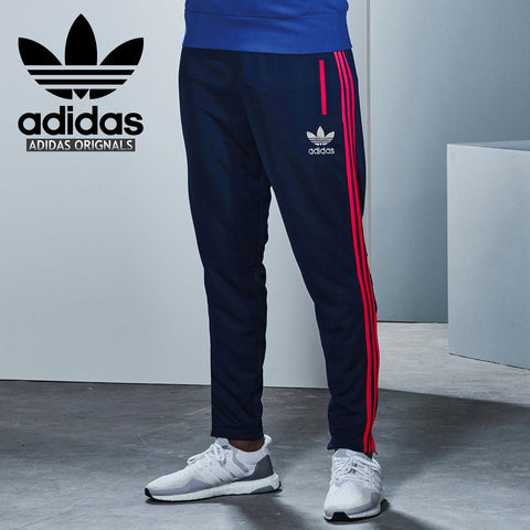 Adidas Cotton Trouser For Men-Dark Navy With Pink Stripes-BE2236