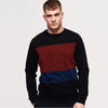Next Terry Fleece Crew Neck Sweatshirt For Men-Black & Multi Panel-SP1023