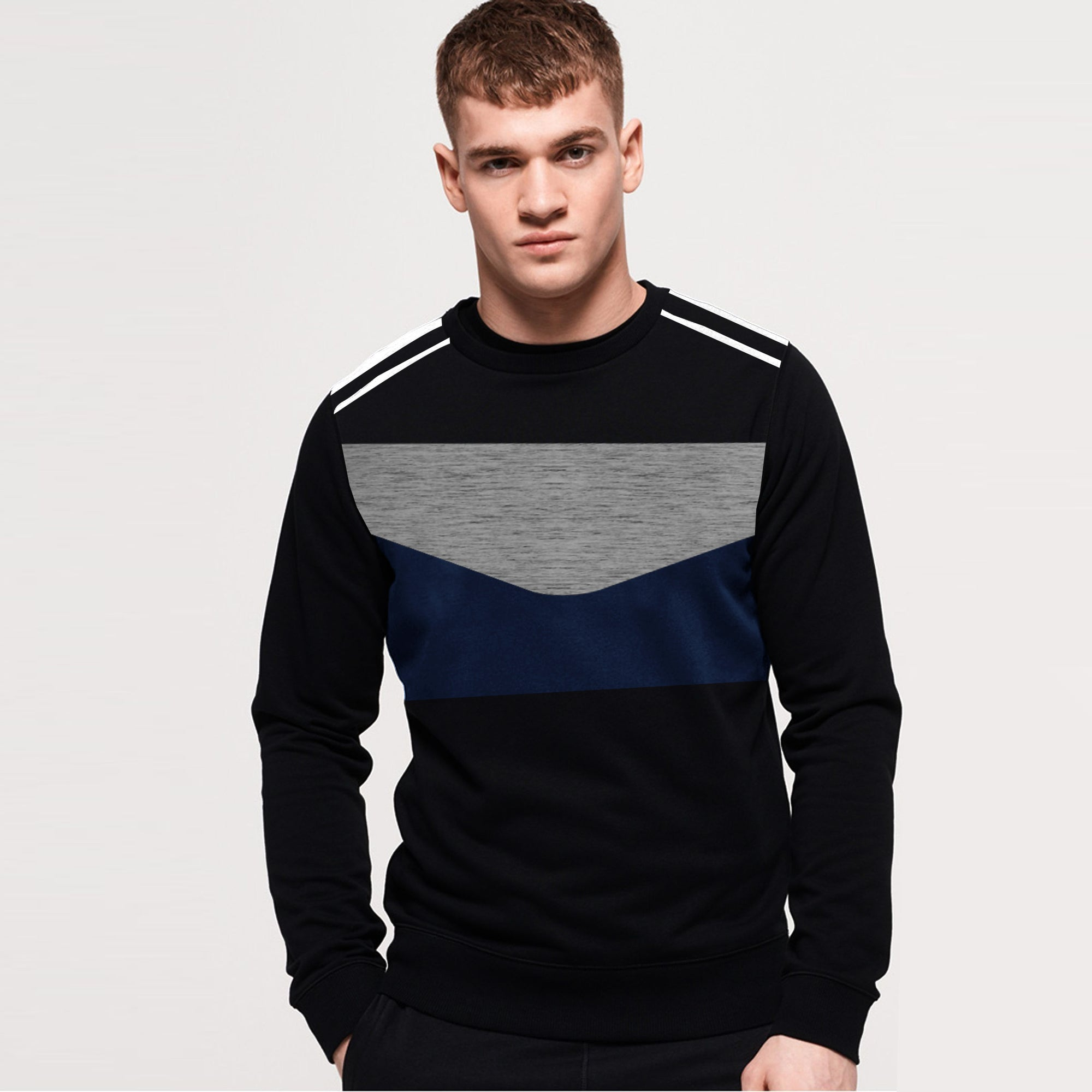 Next Fleece Crew Neck Sweatshirt For Men-Black & Multi Panel-SP1059
