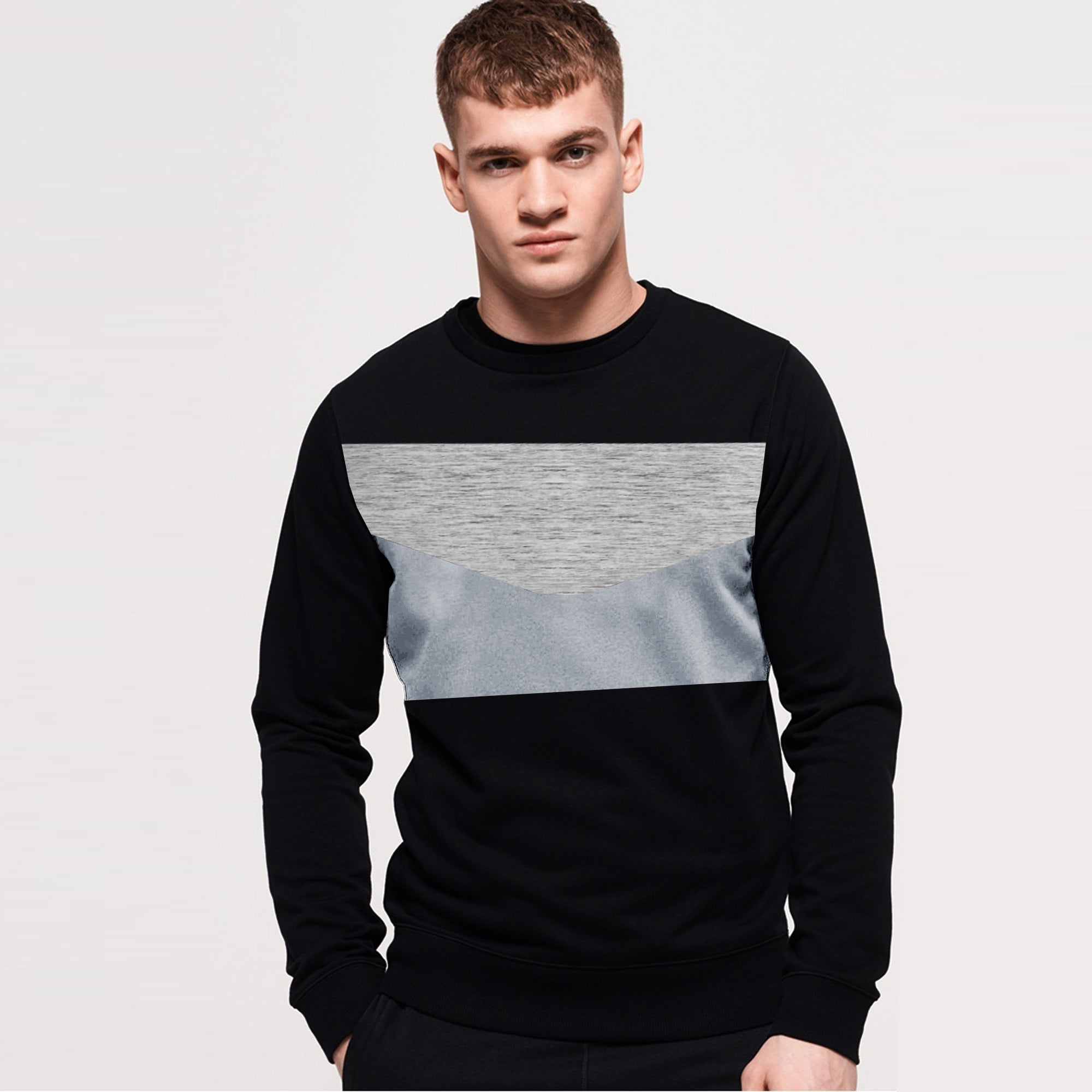 Next Terry Fleece Crew Neck Sweatshirt For Men-Black & Multi Panel-SP1061