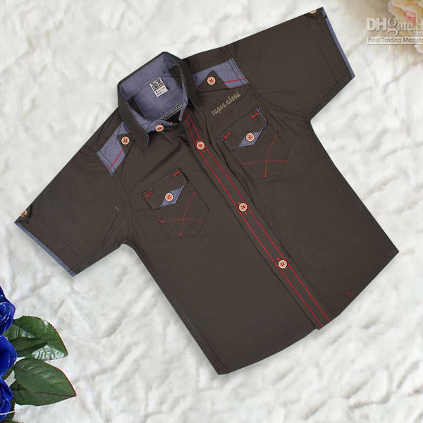"Kid's ""TAO"" Short Sleeves Stylish Casual Shirt- Alkaline- KC202"