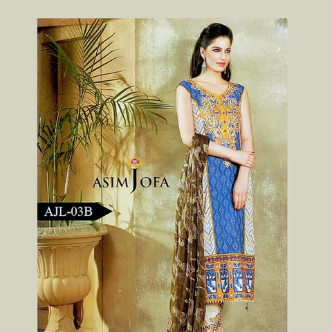 Asim Jofa Unstitched 3 Piece Ladies Suit-ULS36