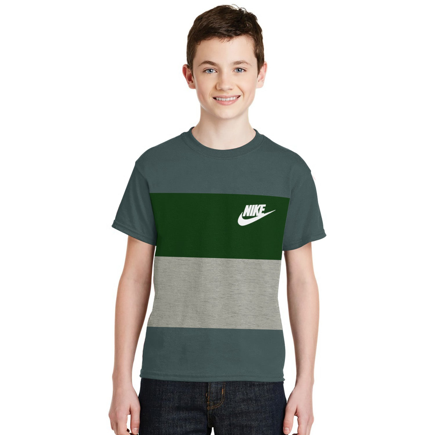 NK Crew Neck Single Jersey Short Sleeve Tee Shirt For Boys-Cadet Blue with Green & Grey Panels-SP1960