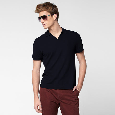 Affinity Apparel V Neck Polo Shirt For Men -Dark Navy- BE2259