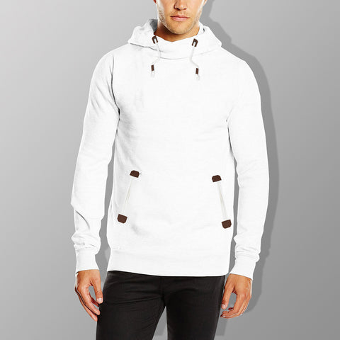 "Men's ""Sublevel"" Stylish Pull Over Fleece Hoodie-White-BB16"