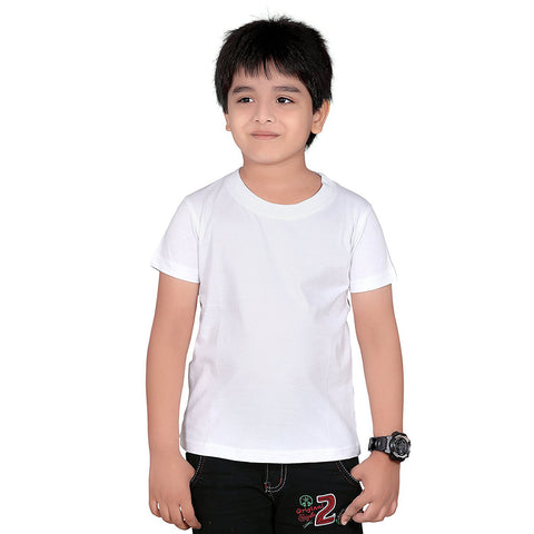 Fassion Crew Neck T Shirt For Boys-White-BE781