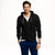 Next Terry Fleece Full Zipper Hoodie For Men-Black with White Dotted-BE3531