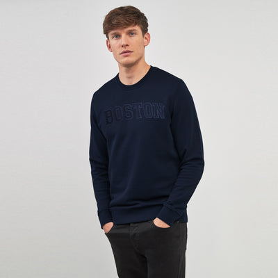 New York Popular Crew Neck Fleece Embroidered Sweatshirt For Men-Dark Navy-SP1079