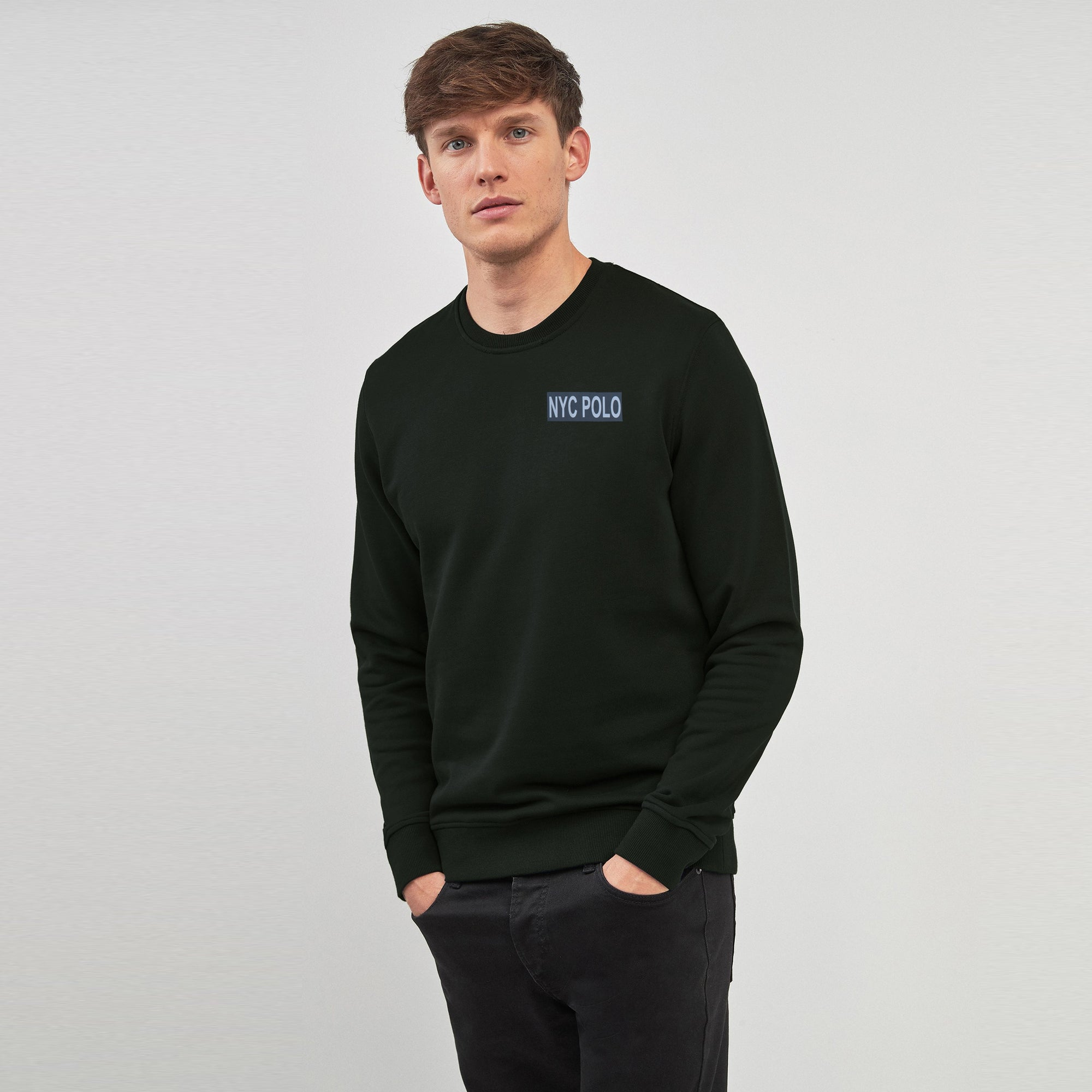 Nyc Polo Crew Neck Fleece Embroidered Sweatshirt For Men-Dark Green-SP1137