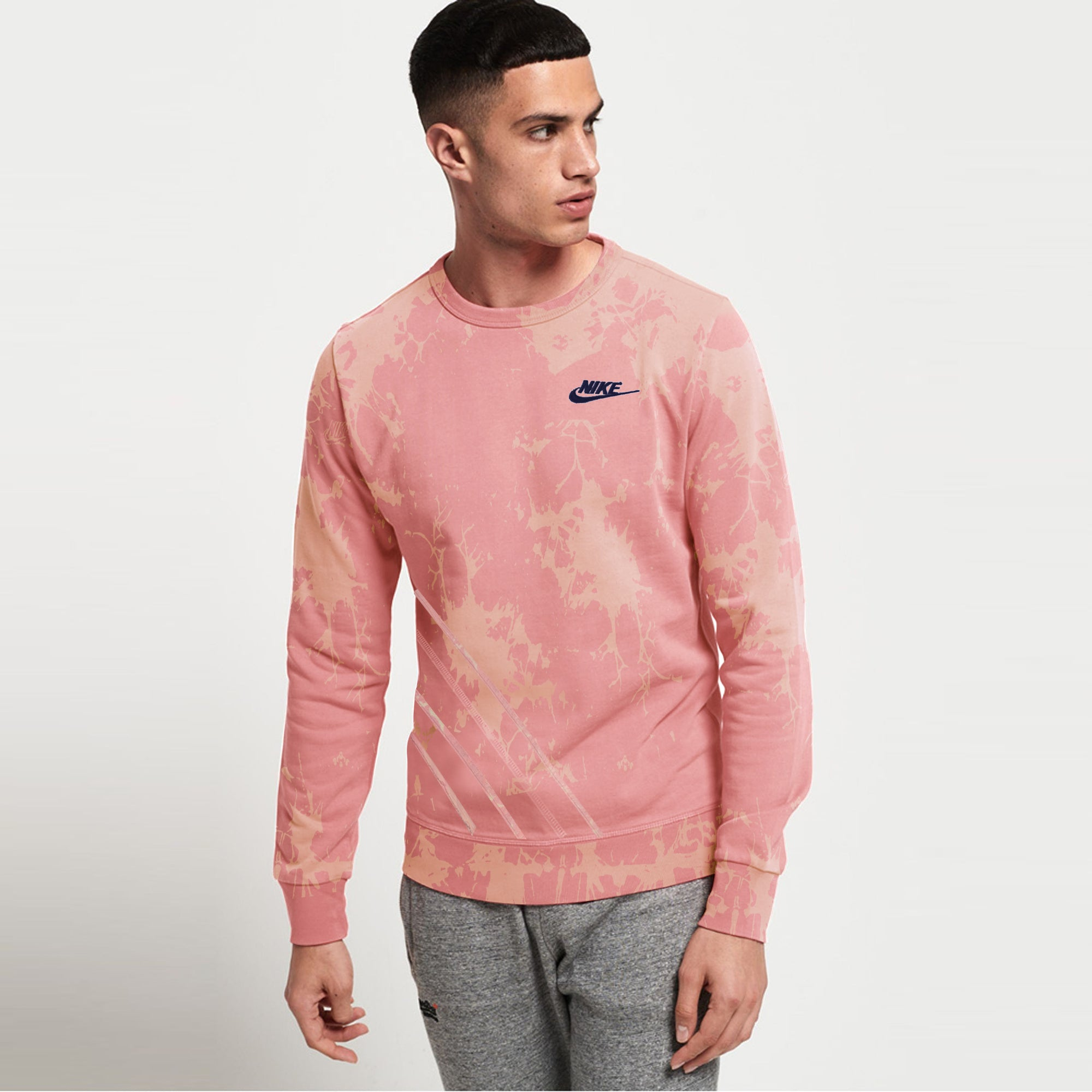 NK Crew Neck Terry Fleece Sweatshirt For Men-Light Pink With Faded-SP1331