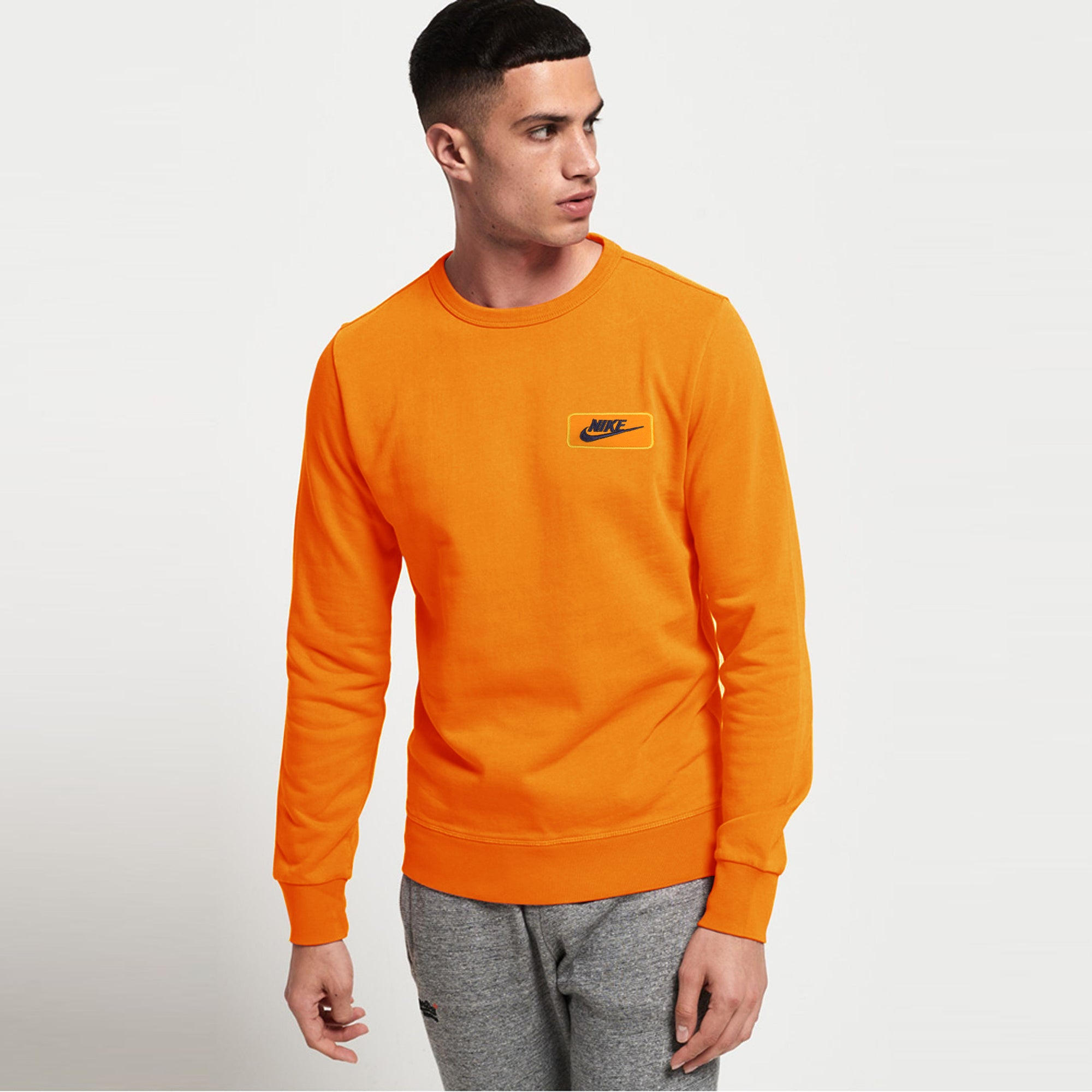 NK Crew Neck Dark Orange & Dark Navy Embroidery Fleece Sweatshirt For Men-Dark Orange-SP1021
