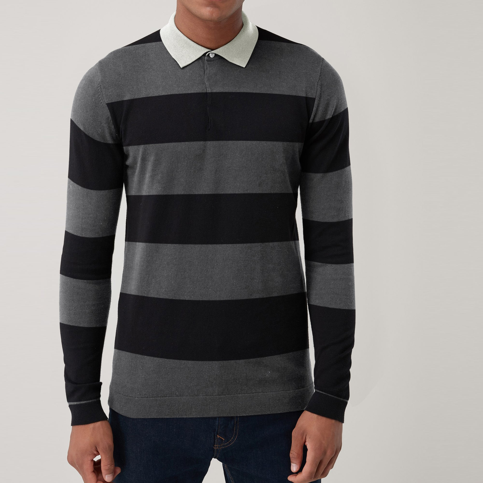 The Modern Single Jersey Long  Sleeve Polo Shirt For Men-Black & Dark Gray Stripe-SP280