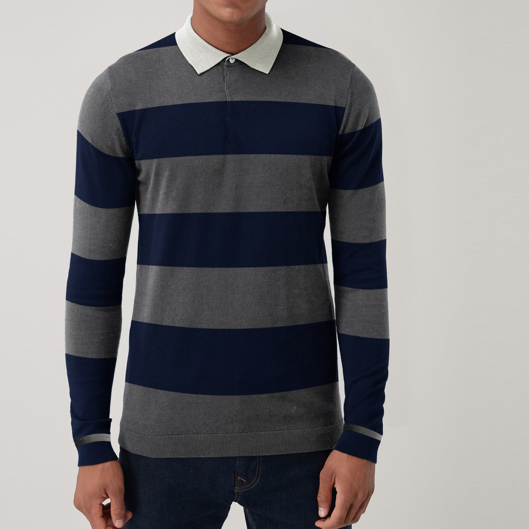 John Ashford Single Jersey Long  Sleeve Polo Shirt For Men-Dark Navy & Grey Stripe-SP282