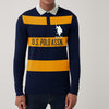 U.S.Polo Assn Long Sleeve Single Jersey Polo Shirt For Men-Navy With Yellow Stripes-SP284