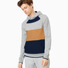 NK Terry Fleece Raglan Sleeve Pullover Hoodie For Men- Grey Melange With  Panels-SP1629