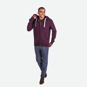 "Men's Cut Label ""Fat Face"" Zipper Hoodie-Burgundi Melange-SKH47"