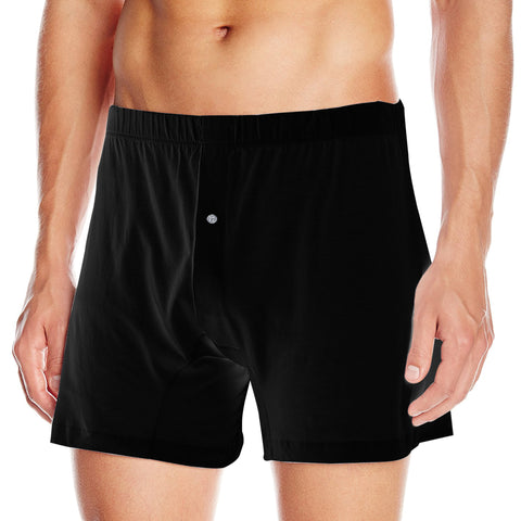 Single Jersey Classic Boxer Shorts For Men-Black-BE4227