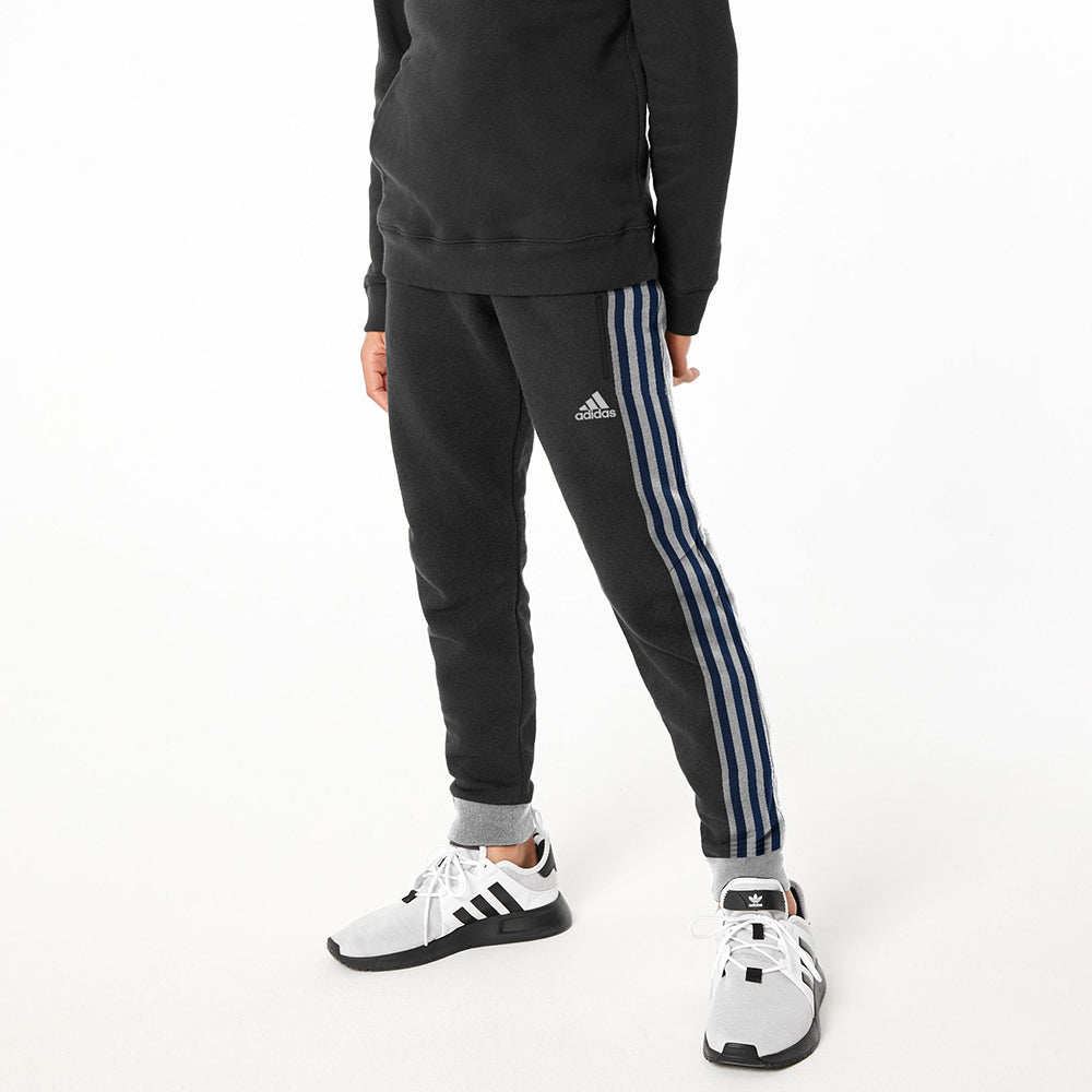 Adidas Single Jersey Jogger Trouser For Kids-Charcoal With Stripes-NA8713