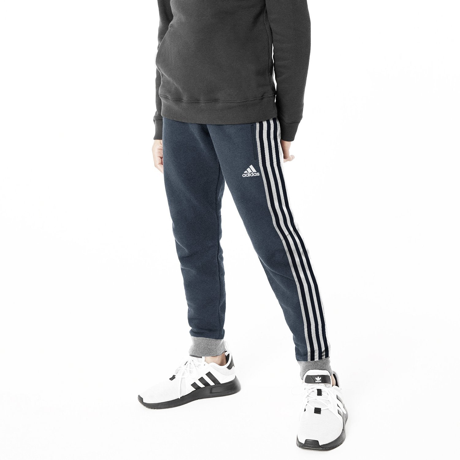 Adidas Single Jersey Jogger Trouser For Kids-Navy Melange With Stripes-NA8571
