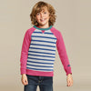 Next Terry Fleece Crew Neck Raglan Sleeve Sweatshirt For Kids-Light Pink & White With Blue Stripes-SP818