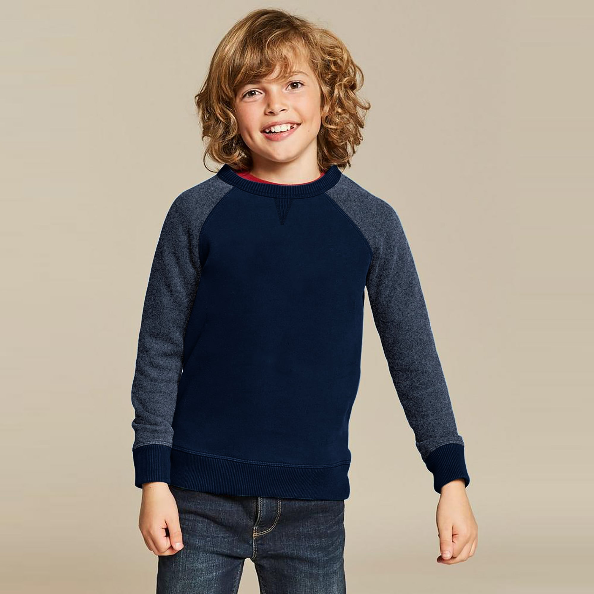 Next Terry Fleece Crew Neck Raglan Sleeve Sweatshirt For Kids-Dark Navy-SP813
