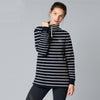 Fat Face Fleece High Neck Hoodie For Ladies-Dark Navy & White Stripe-BE6533