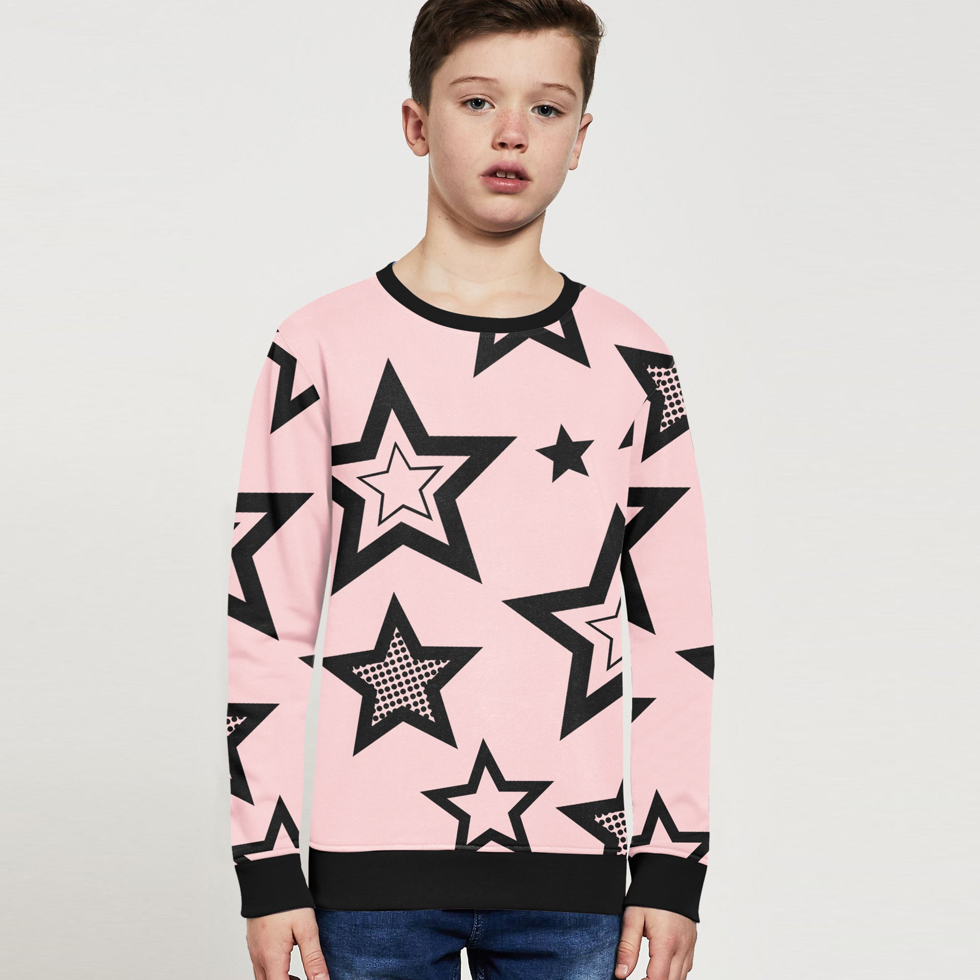 ZBaby Terry Fleece Sweatshirt For Kids-Light Pink with Stars Print-BE12824