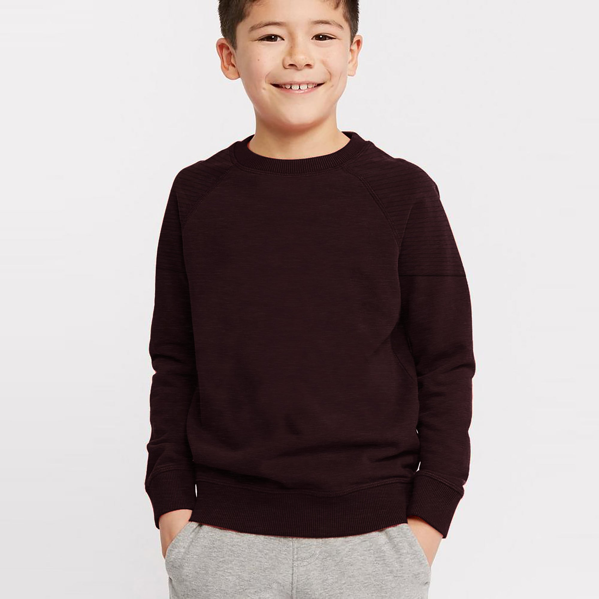 Next Terry Fleece Crew Neck Raglan Sleeve Sweatshirt For Kids-Dark Maroon Melange With Panels-SP821