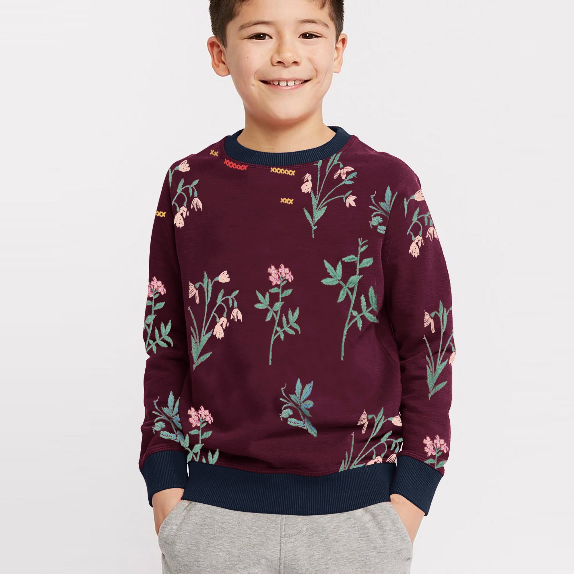 Tommy Hilfiger Fleece Crew Neck Sweatshirt For Kids-Maroon With Allover Print-SP1386