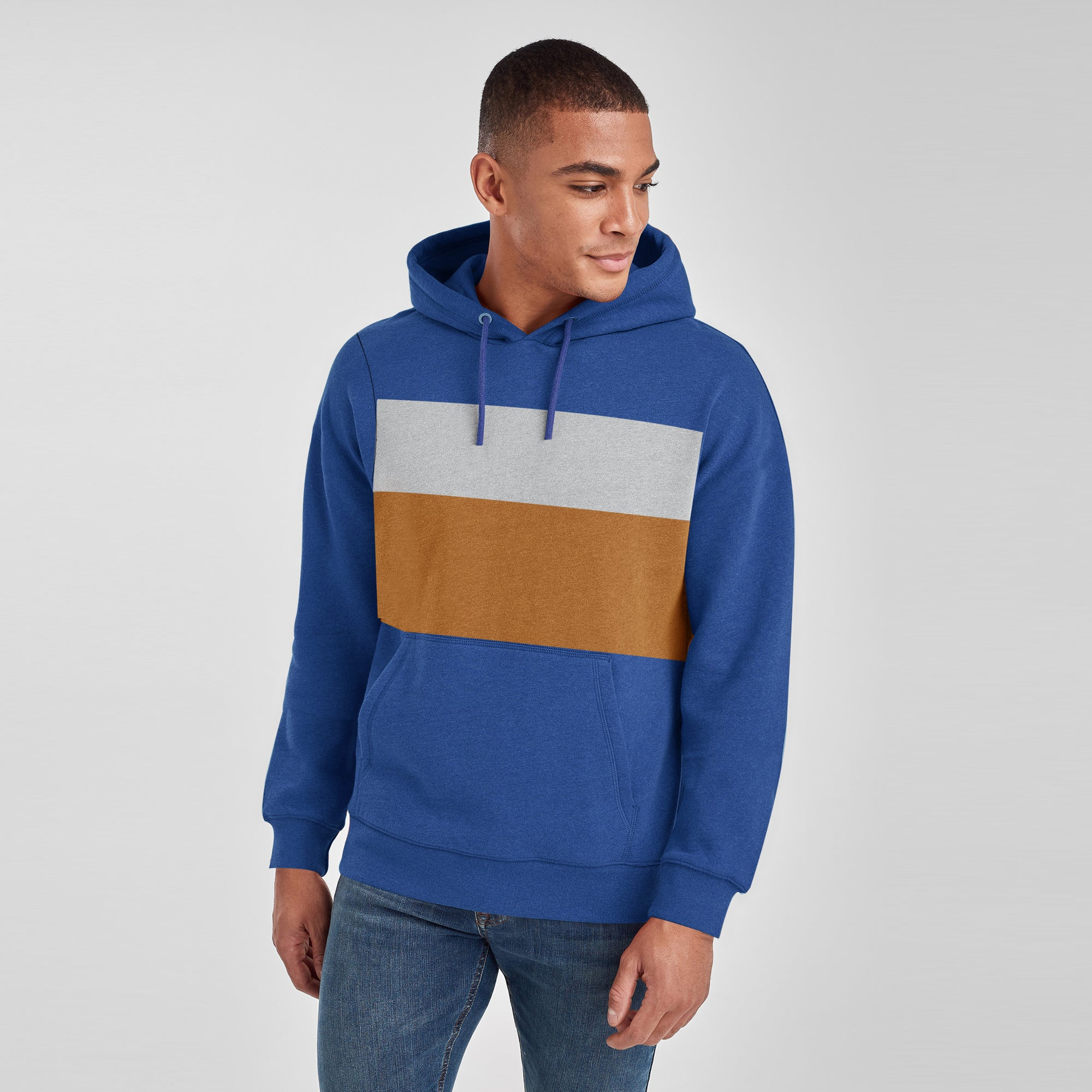 New Stylish Terry Fleece Pullover Hoodie For Men Navy With Grey Melange & Camel Panels SP1755