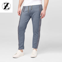 Zara Man Single Jersey Trouser For Men-Gray Melange Lining With Gray Stripe-BE2759