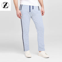 Zara Man Single Jersey Trouser For Men-Cyan Blue Melange With Dark Gray Stripe-BE2760