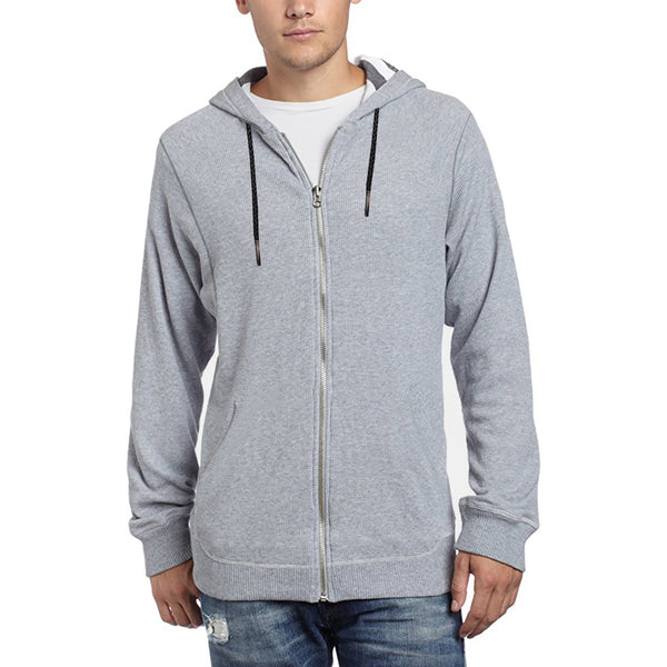 "Men's Cut Label ""Next"" Thermal Zipper Hoodie-Gray-6149"