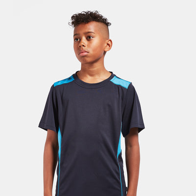 ATHLETIC FIT PERFORMANCE T-SHIRT For Boys-NAVY & CYAN-NA8289