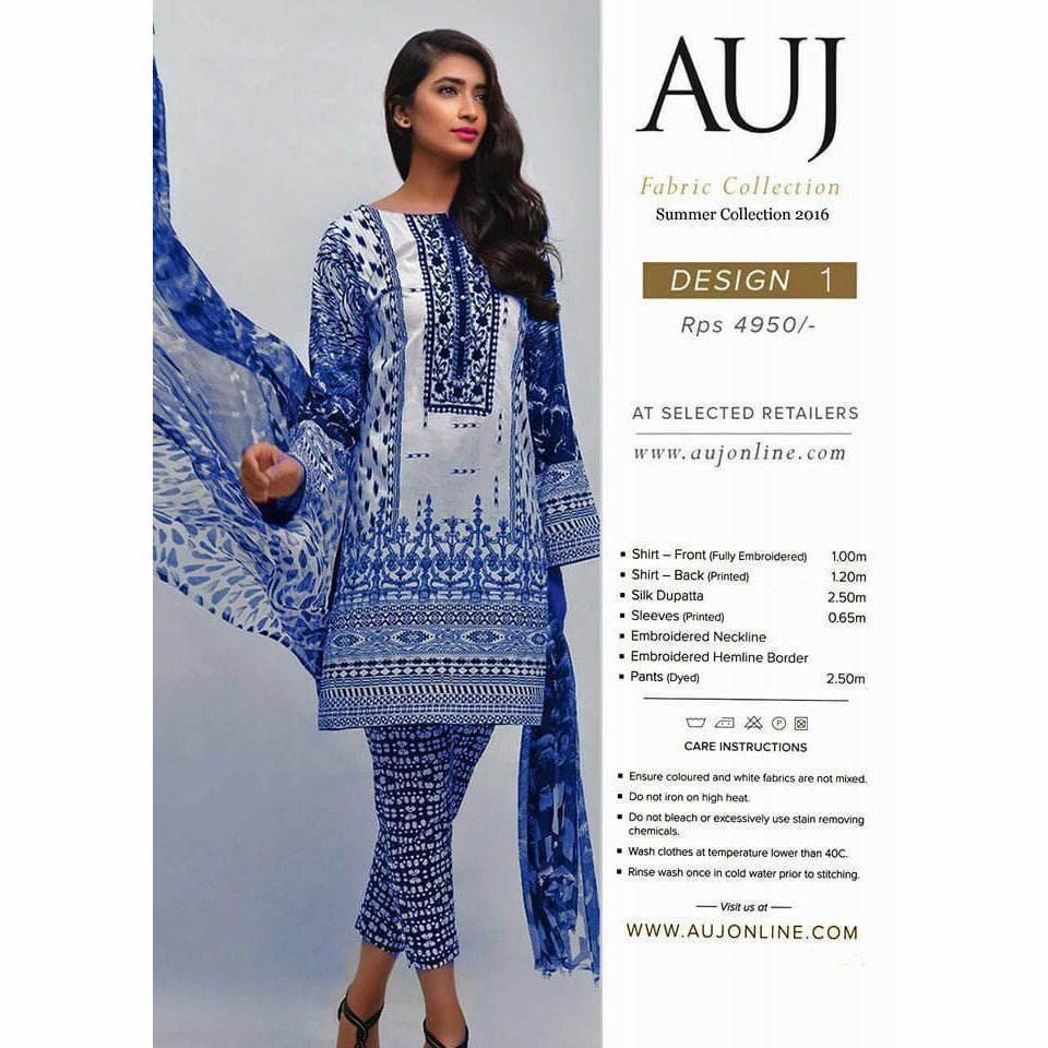 AUJ Lawn Collection 3 Piece Un-stitch Suit For Ladies-NA9425