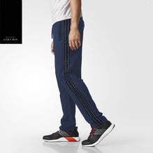 Zara Man Single Jersey Trouser For Men-Light Navy Melange with Navy & White Stripe-BE2753