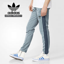 Adidas Cotton Trouser For Men-Bond Blue With Dark Navy Stripes-BE983