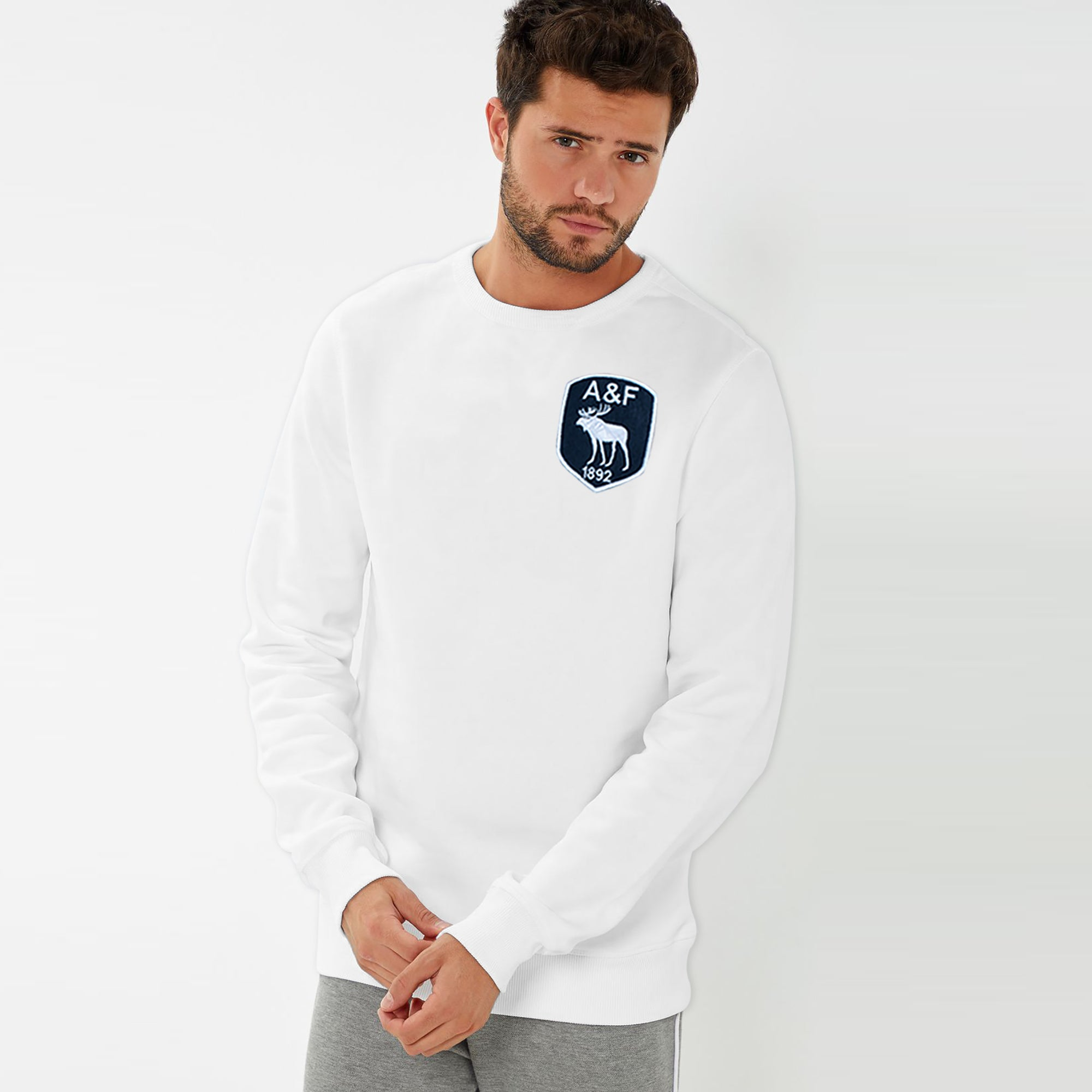 brandsego - A&F Fleece Crew Neck Sweatshirt For Men-White-BE7725